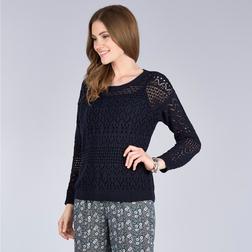 Стильный вязанный пуловер синего цвета с пуговицами на спине JP 506