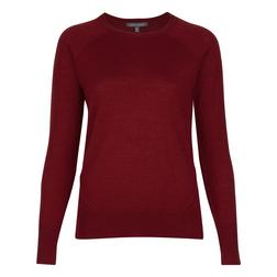 Шикарный пуловер красного цвета из микса шерсти и шелка JP 673