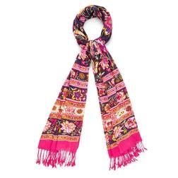Симпатичный шарф  темно-фиолетового цвета с обворожительным узором красивых цветов SH 268