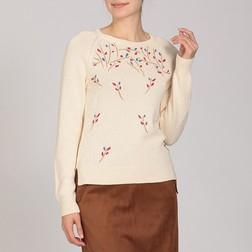 Красивый пуловер бежевого цвета с оригинальной вышивкой  JP 132