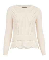 Элегантный пуловер молочного цвета с оригинальной вязкой JP 220