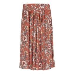 Женственная юбка терракотового цвета с цветочным принтом MS 294