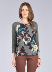 Красивая футболка с рукавом 3/4 серого цвета TS 488