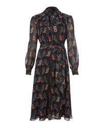Изысканное платье черного цвета с цветочным принтом MD 786
