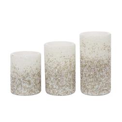 Набор искусственных свечей с серебристым бисером LED CANDLES SET OF 3 22,5*9; 18*9; 12,5*9 (Silver)
