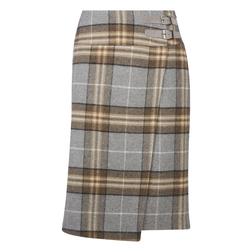 Красивая юбка серого цвета, в клетку коричневого и бежевого цвета MS 590
