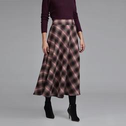 Женственная шерстяная юбка-колокольчик коричневого цвета в клетку MS 609