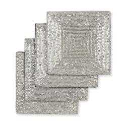 Набор квадратных подставок под чашку серебристого цвета BEADED RECTANGULAR SET OF 4 COASTERS 10*10