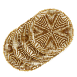 Набор круглых подставок под чашку золотистого цвета BEADED ROUND SET OF 4 COASTERS Ø10 (Gold)