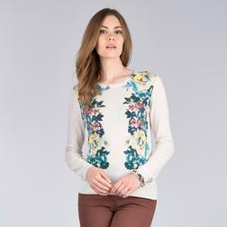 Легкий свитер кремового цвета с цветочным принтом по бокам JP 497