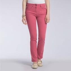 Джинсы слимы розового цвета с высокой талией TR 021