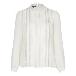 Великолепная блуза кремового цвета с кружевным воротничком и вертикальными складками BL 088