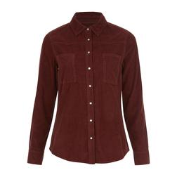 Замечательная вельветовая рубашка терракотового  цвета классического кроя BL 834