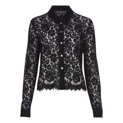 Шикарная кружевная блуза черного цвета в классическом стиле BL 089