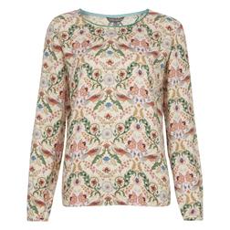 Стильная блуза кремового цвета с принтом птиц и растений BL 132