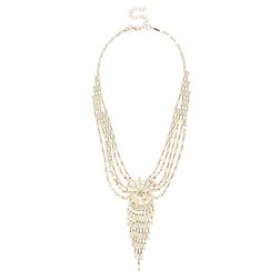 Очаровательное ожерелье в виде красивой паутинки с нежным цветком по центру JW 830