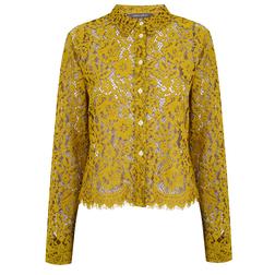 Шикарная кружевная блуза трендового цвета золота  Golden Olive