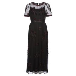 Элегантное вечернее платье черного цвета с бисерным  цветочным узором MD 695