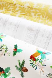 Упаковочная бумага с рисунком снегирей и елочных веточек ROBIN WRAP 70*300 (Red)