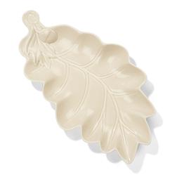 Большая тарелка в форме дубового листочка AUTUMNAL LEAF PLATE 30,5*17*3 (Cream)