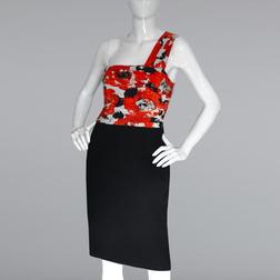 Платье отрезное по талии с красочным верхом из шелка MD 163