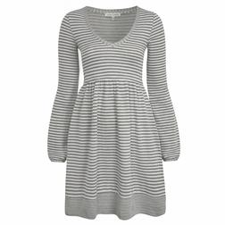 Полосатое платье серо-белого цвета с длинным рукавом MD 664