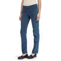 Зауженные велюровые брюки цвета вечернего неба TR 752