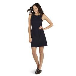 Трикотажное платье темно-синего цвета с коричневыми вставками MD 135