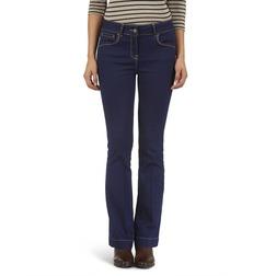 Классические джинсы темно-синего цвета с клёшем от колена TR 887