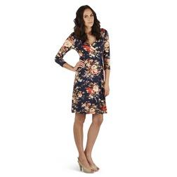 Легкое трикотажное платье темно-синего цвета с ярким цветочным принтом MD 040