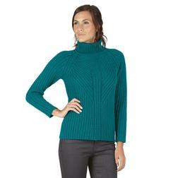 Плотный свитер бирюзового цвета с отворотным воротником JP 391