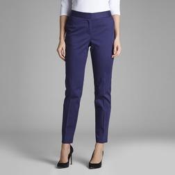 Стрейчевые брюки темно-синего цвета со стрелками и высокой талией TR 008