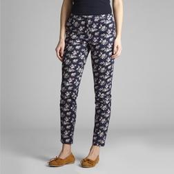 Зауженные штаны из хлопка темно-синего цвета с цветочным принтом TR 991
