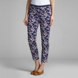 Укороченные штаны из хлопка темно-синего цвета с цветочным принтом TR 005