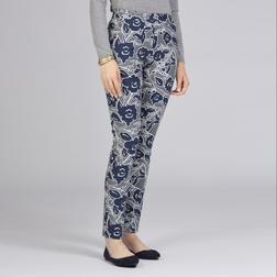 Зауженные штаны серого цвета с  цветочным принтом TR 988