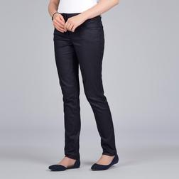 Вощеные джинсы слимы темно-синего цвета с высокой талией TR 863