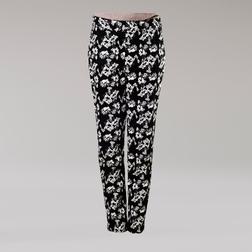 Легкие штаны черного цвета из хлопка с цветочным принтом TR 141