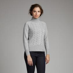 Шерстяной пуловер с высоким воротом серо-стального цвета JP 682