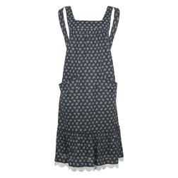 Платье-сарафан синего цвета с принтом листиков MD 778
