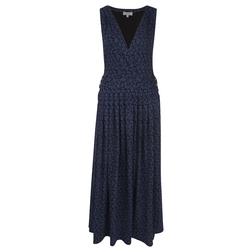 Платье черного цвета с принтом листьев в синем цвете MD 812