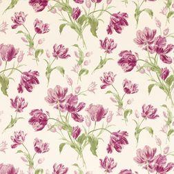 Бумажные обои в крупные цветы тюльпана в розово-бордовых оттенках GOSFORD MEADOW (Berry)