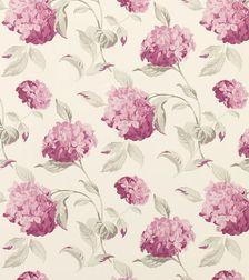 Бумажные обои в цветы гортензии розово-бордовых оттенков HYDRANGEA (Berry)