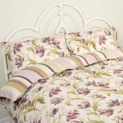 Комплект постели с большим пододеяльником в фиолетовые тюльпаны GOSFORD KG 220*230, 50*75 (Plum)
