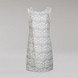 Льняное платье серого цвета с красивым узором кремового цвета MD 205