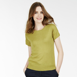 Красивый пуловер с коротким рукавом горчичного цвета JP 667