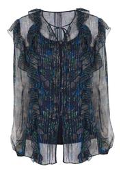 Шелковая блуза темно-синего цвета с блестящим принтом BL 147