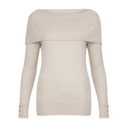 Красивый пуловер кремового цвета с широким заворотом по плечам JP 306
