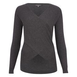 Стильный пуловер серого цвета с V-образным вырезом JP 332