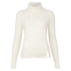 Красивый свитер с высоким горлом молочного цвета JP 373
