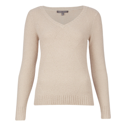 Великолепный шерстяной пуловер цвета пудры, с V- образным вырезом JP 696